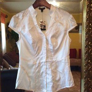 Express Short Sleeve White Button Down Shirt. XS